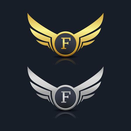 Wings Shield Letter F Logo Template Vettoriali