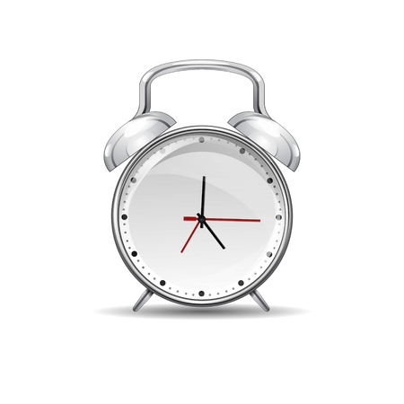 Realistic red metal alarm clocks. Vector illustration on white Illustration
