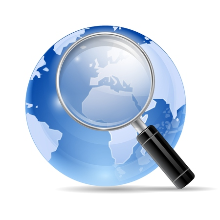 3d Magnifying Glass Search Vector Icon