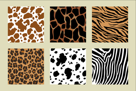 Animal skin pattern. six different pattern. Vector illustration