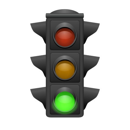 Traffic light with green bright. Go concept. vector illustrator