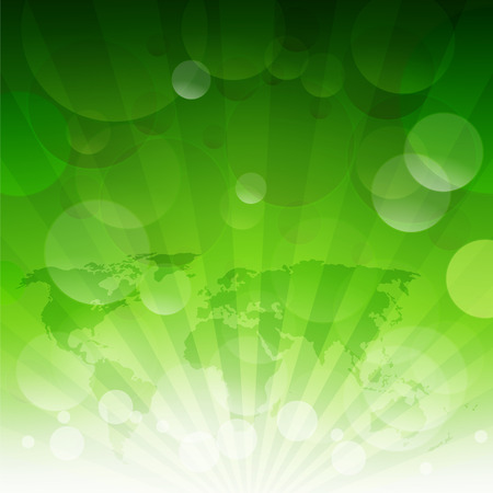 Green Sunburst Eco Background With Gradient Mesh, Vector Illustration Ilustração