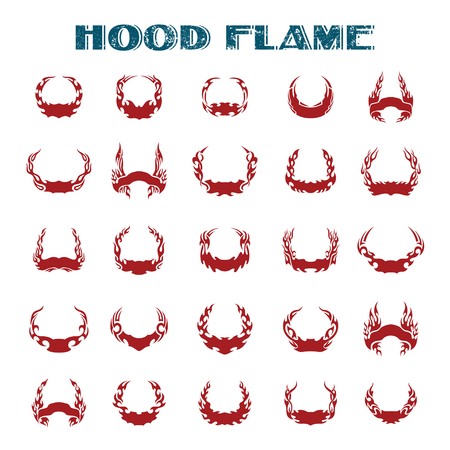 hood flame. Vinyl ready flames set. Great for vehicle graphics and T-shirt decals. Illustration