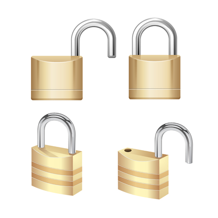 Realistic Padlock Illustration. Closed lock security icon isolated on white Stock Vector - 77094234