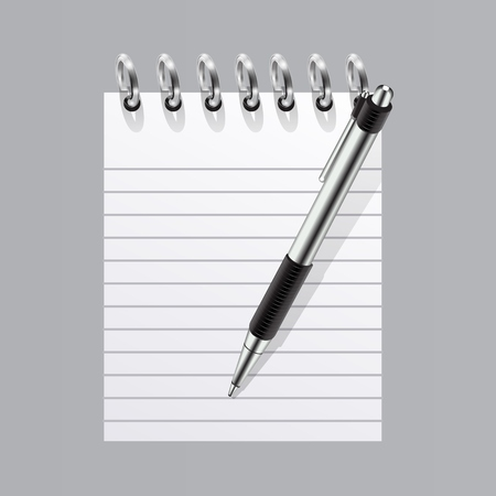 Realistic blank spiral notepad and pen symbol. vector Illustration