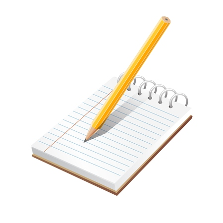 pad: Realistic blank spiral notes and pencil symbol. vector Illustration