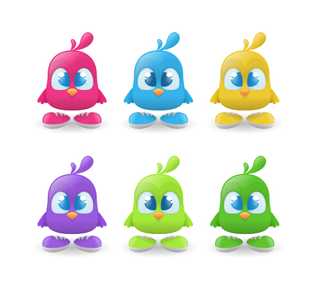 Set of funny bird characters Illustration