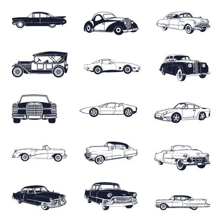 set of old vintage car isolated on white background Illustration