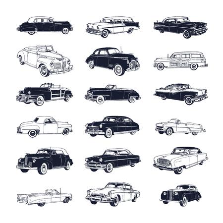 Set van oude vintage auto geïsoleerd op een witte achtergrond Stock Illustratie