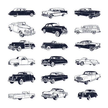set of old vintage car isolated on white background Illustration