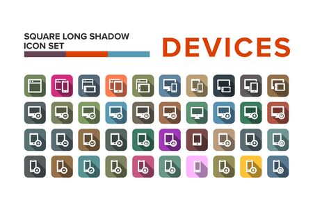 pad: Flat design devices icons with long shadow
