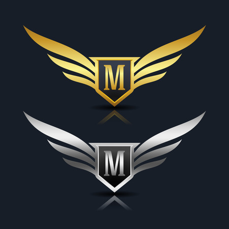 elite sport: Wings Shield Letter M Logo Template
