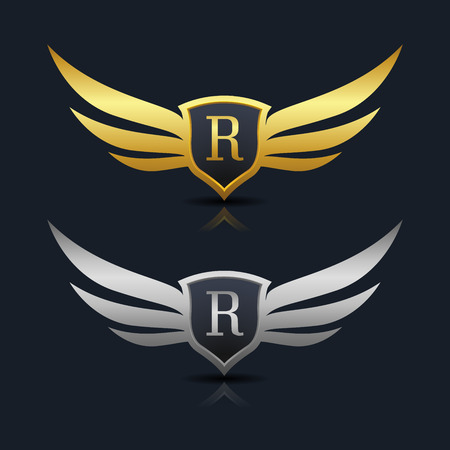 elite sport: Wings Shield Letter R Logo Template