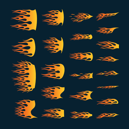 Vinyl ready flames set. Great for vehicle graphics and T-shirt decals. Illustration