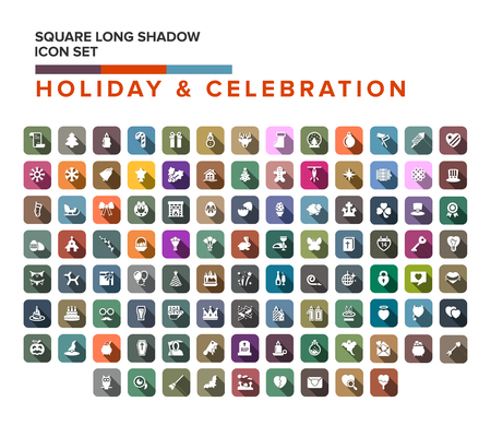 diamond letters: Holiday celebration Flat Icons . Vector Illustration. Happy Holiday. Collection of square Items with Long Shadow.