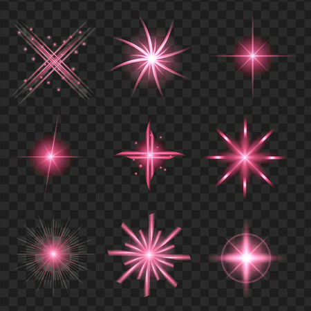 Purple shine stars with glitters, sparkles icons set. Effect twinkle, glare, scintillation element sign, graphic light. Transparent design elements background.