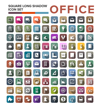 Set of office icons in flat design with long shadows Illustration