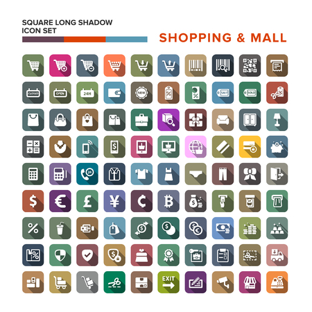 Shopping Mall icons set with long shadow isolated, vector illustration Illustration