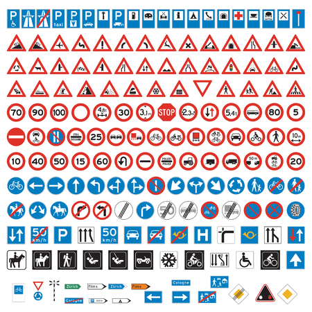 Road Signs and Symbols set Banco de Imagens - 77073978