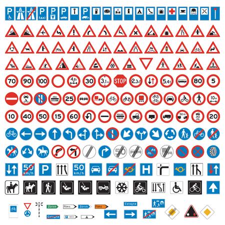 Señales de tráfico y símbolos conjunto Ilustración de vector