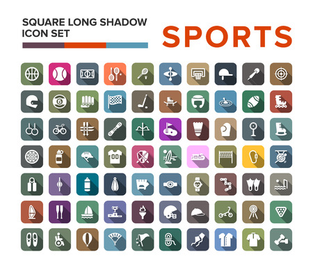 Sport icons set in flat design with long shadow