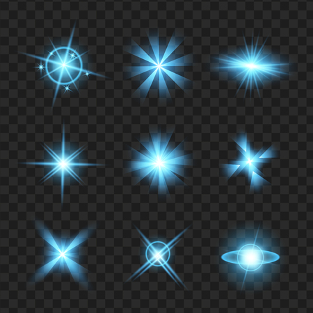 Blue shine stars with glitters, sparkles icons set. Effect twinkle, glare, scintillation element sign, graphic light. Transparent design elements background. Varied template Vector illustration