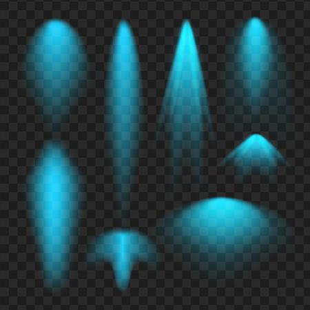 Blue Vector schijnwerperset. Licht effect. vector illustratie Stockfoto - 77081045