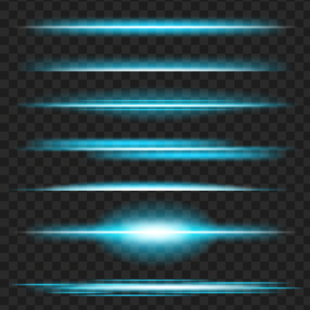 Set of blue glowing light effect. Isolated on black transparent background. Vector illustration