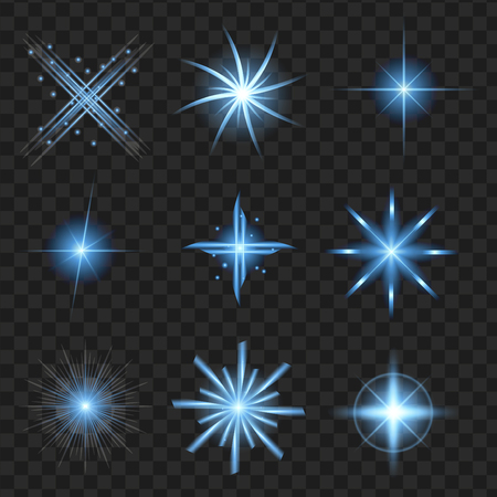 Blue shine stars with glitters, sparkles icons set. Effect twinkle, glare, scintillation element sign, graphic light. Transparent design elements pattern. Varied template Vector illustration