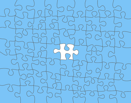 Vector Abstract colorful background made from white puzzle pieces on blue puzzle. Ilustração