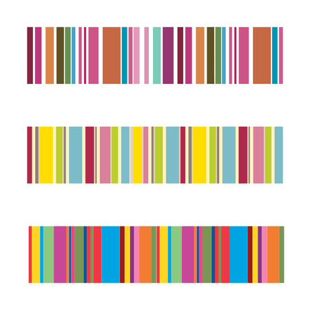 vertical colorful stripes abstract background, stretched pixels effect, seamless patterns, set Ilustrace
