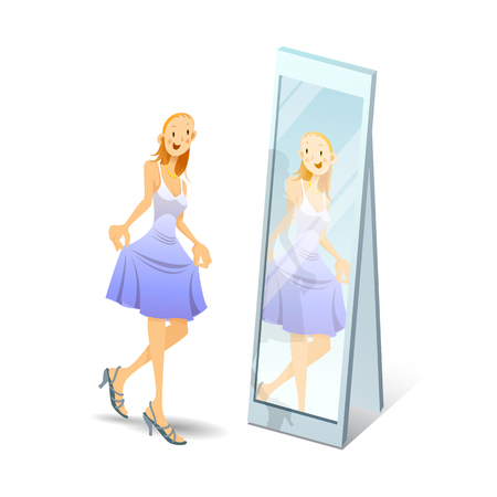 breakable: girl on heels looks in mirror - vector illustration, eps Illustration