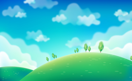 Spring Day. Green fields on blue sky . Vector, eps10.