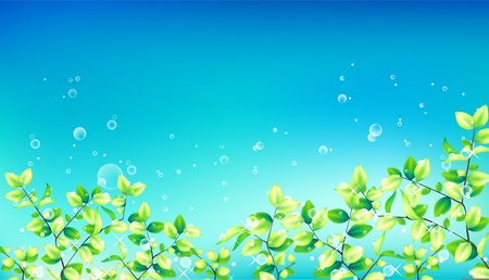 Vector summer nature background, blossoming flowers field on blue sky. 向量圖像