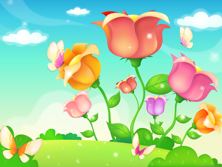 weeds: Summer or spring lush meadow with colorful flowers and butterflies
