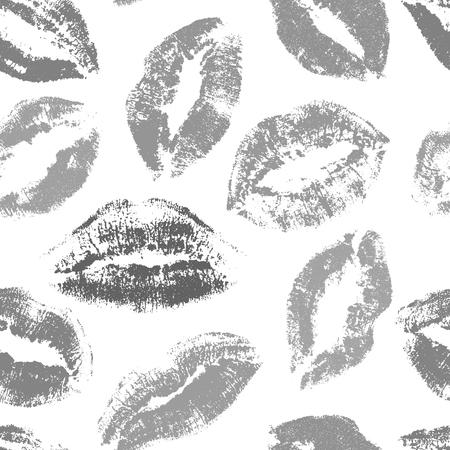 Kisses seamless vector pattern. lips print pattern