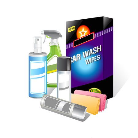 Car wash bottle product on white background. Vector illustration