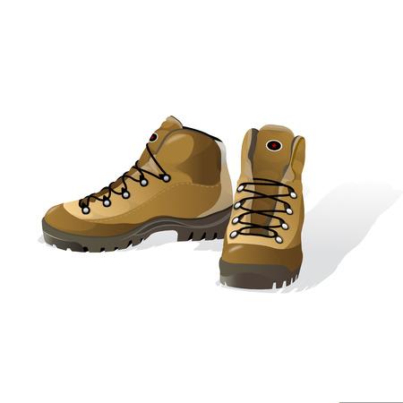 靴をハイキング、マウンテン ブーツ、ベクトル図では、白で隔離  イラスト・ベクター素材