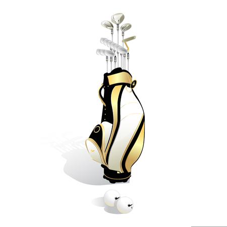 Sac de golf réaliste et clubs isolés sur fond blanc. Illustration vectorielle