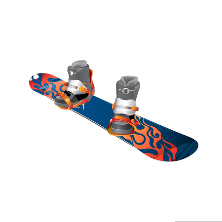 Snowboard realistic vector illustration. Wooden snowboard with holes for mounting boots. Illustration