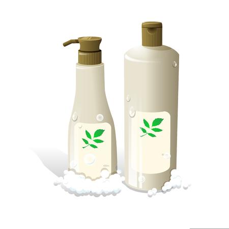 Shampooing pour cheveux cosmétiques bouteilles réalistes emballage vecteur Vecteurs