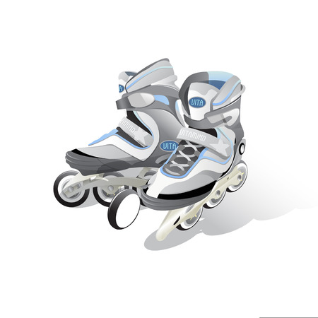 pair inline skating boot vector detailed