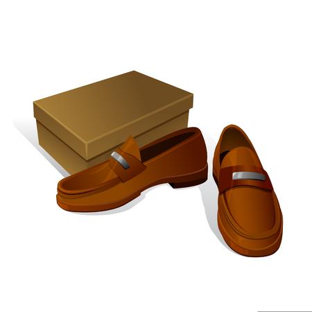 Eleganti nuove scarpe marroni marroni con scatola di scarpe Archivio Fotografico - 77353214