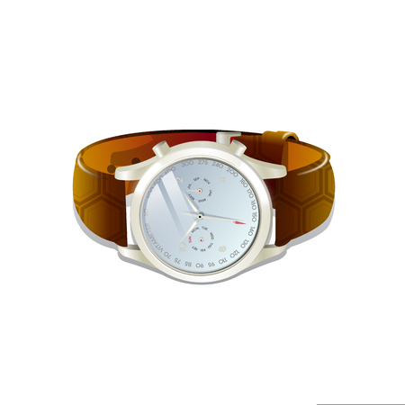 Classic mens watch with brown leather bracelet. Vector 3d illustration isolated on white background. Illustration