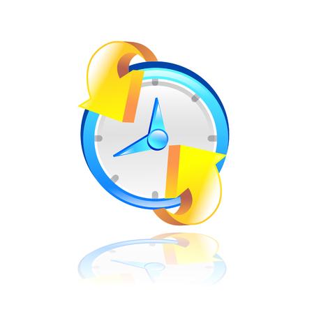 break time: Clock with yellow arrow. 3D Vector illustration