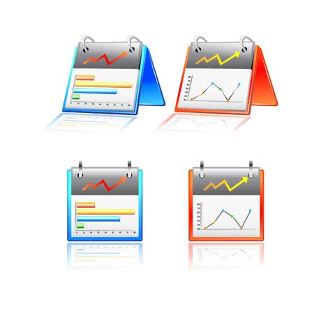 Reports chart graphs icon. vector Illustration set