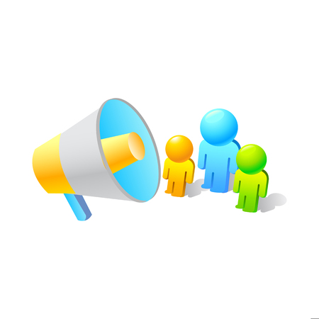 Business promotion concept. 3d isometric scene, man addresses crowd of business people with giant megaphone. Illustration
