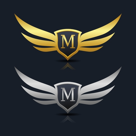 Wings Shield Letter M Logo Template