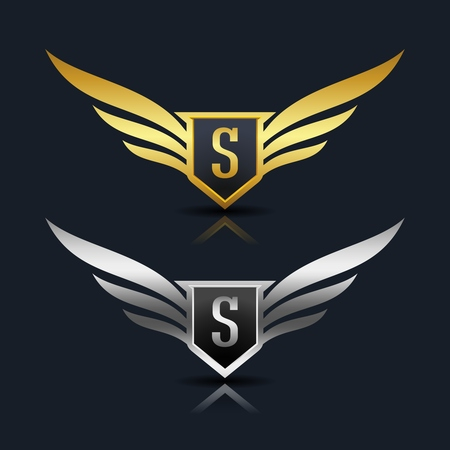 翼の盾 s ロゴのテンプレート  イラスト・ベクター素材