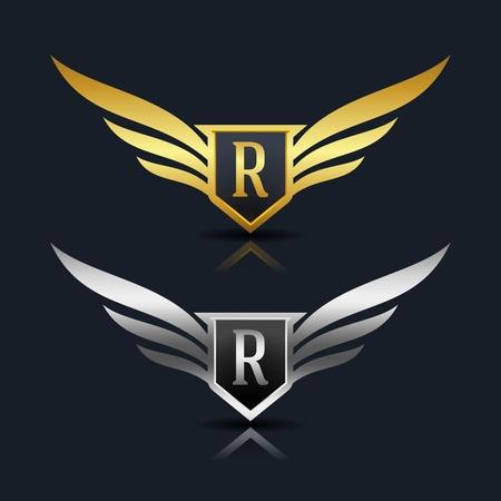 Wings shield lettre r logo template Banque d'images - 77353305